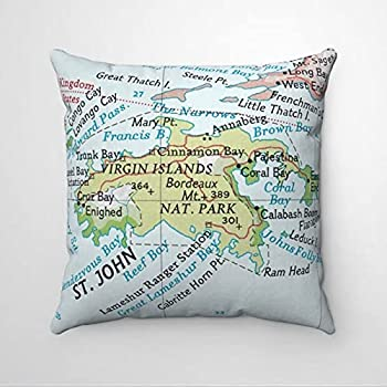 St John USVI Vintage Map Beach Premium Throw Pillow Cover,Decorative Pillow ,Modern Cushion Cover for Independence Day,Indoor Bedroom ,Sofa ,Living Room,Car.