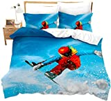 dsgsd Juego de Funda nórdica para niños Esquiador de deportes extremos de invierno creativo moderno 260x240cm Impresión Juego de ropa de cama Funda nórdica / Funda de edredón Sábana Fundas de almohada