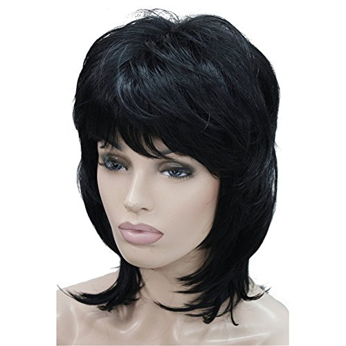 Aimole Soft Shaggy Layered Medium Length Classic Cap Synthetic Women Wigs(1-Black)
