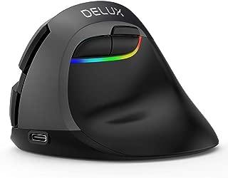 DELUXワイヤレスマウス充電式, エルゴノミックマウス, BT4.0および2.4Gワイヤレス デュアルモード, 6ボタンおよび, 4 DPIレベル, ラップトップPCコンピュータ用のRGB人間工学に基づいたサイレントマウス 静音 垂直型