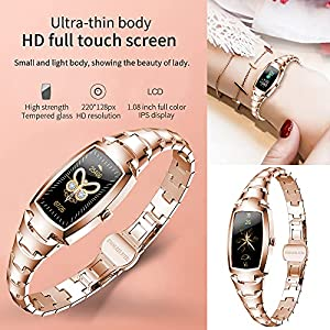 Smart Watch for Women, Waterproof Fitness Tracker with Blood Pressure Heart Rate Blood Oxygen Sleep Monitor Message Notification Sport Pedometer, Smartwatch Bracelet for iOS Android Phones (Gold)