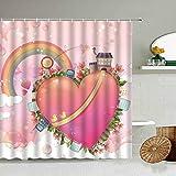 AETTP Cartoon Rosa Schloss Regenbogen Dessert Kuchen Süßigkeiten Duschvorhang Mädchen Kind Badezimmer Wanddekoration Mit Haken Polyester Display Set 180 * 180cm