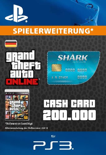 Grand Theft Auto Online | GTA V Tiger Shark Cash Card | 200,000 GTA-Dollars | PS3 Download Code - deutsches Konto