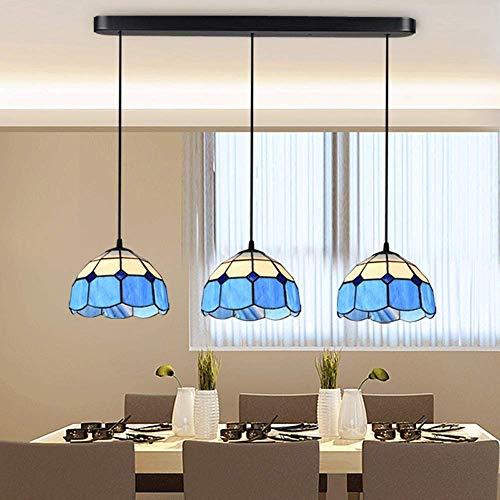 XBR Azul Candelabro de Estilo Tiffany Simple Luces Colgantes de vidrieras Azules para Restaurante Luces Colgantes Candelabros Modernos Retro Cafe Bar Iluminación de Techo E27 (Color: Base rect