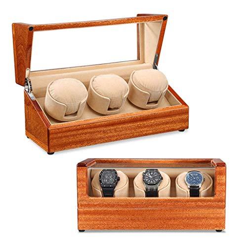 CCAN Caja de Reloj Bobinadora automática de Madera Caja de bobinadoras silencioso Motor silencioso 5 Modos de rotación Vitrina de Almacenamiento para Hombre Relojes para Mujer Regalo (Color: FLA