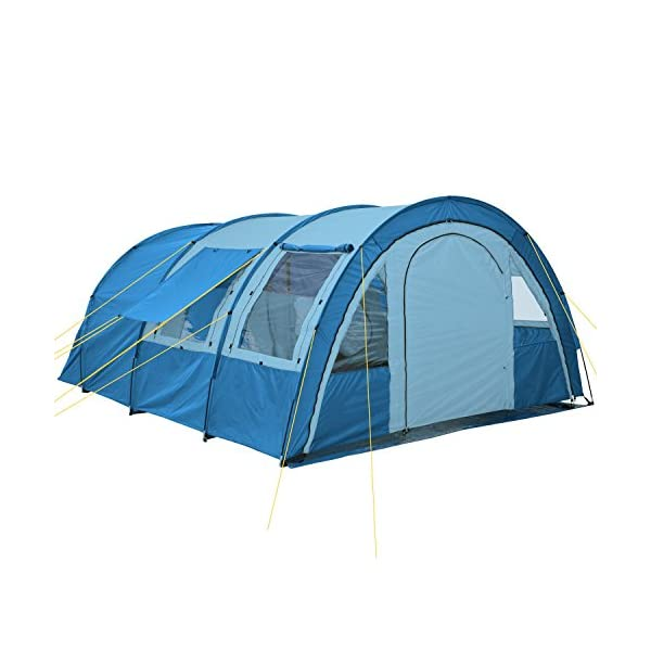 CampFeuer - Tunnel Tent with 2 Sleeping Compartments, Blue/Light-Blue, with Groundsheet and Movable Front Wall