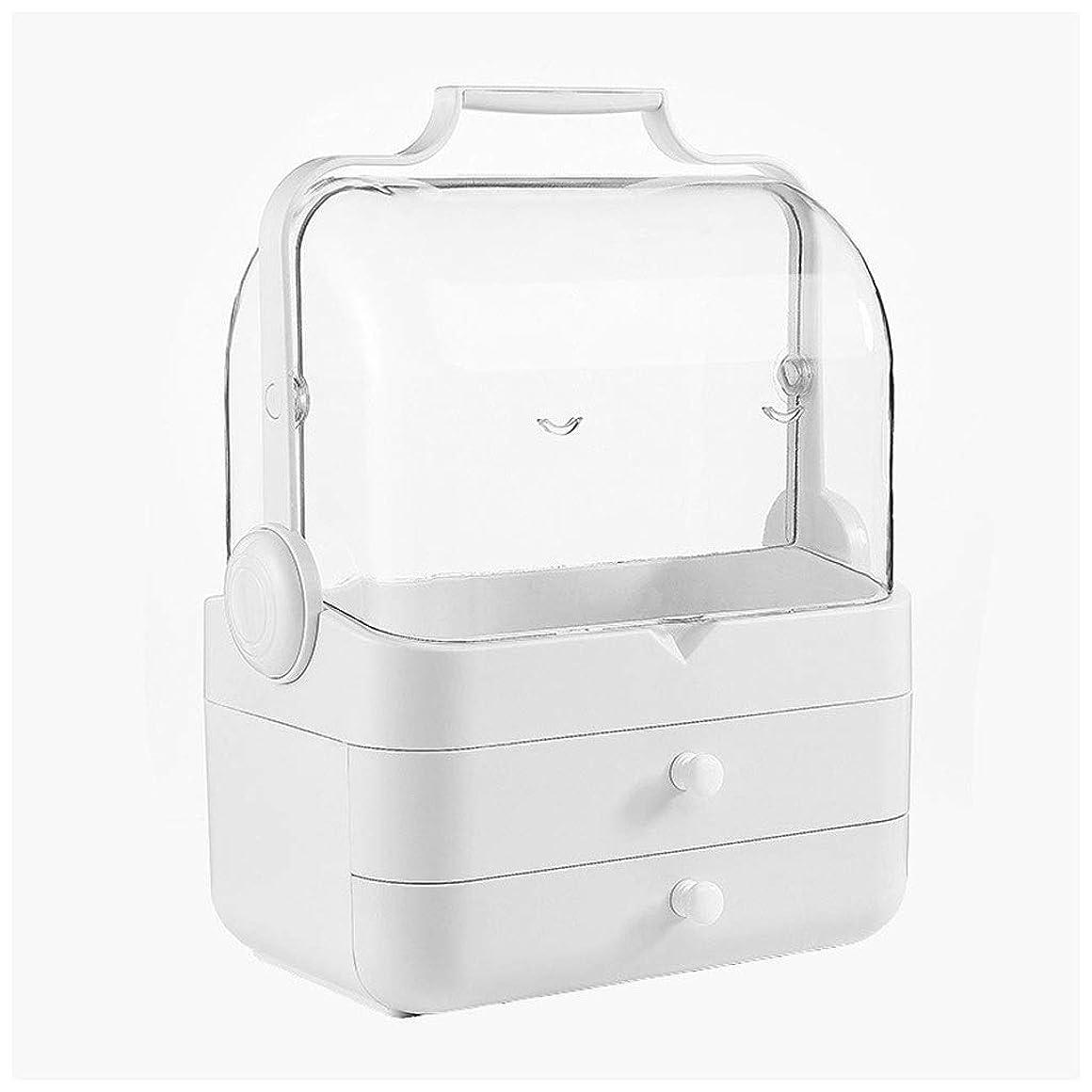 ヘビージュース支給LDG クリア 化粧品収納ボックス、プラスチック ポータブル 大容量 引き出し 蓋 防水 防塵 メイクケース (Color : B)