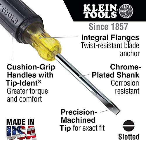 Klein Tools 85078 Screwdriver Set, 8 Piece All Purpose Screwdriver Kit has 4 Phillips and 4 Flat Head Tips, Cushion Grip, Precision Machined