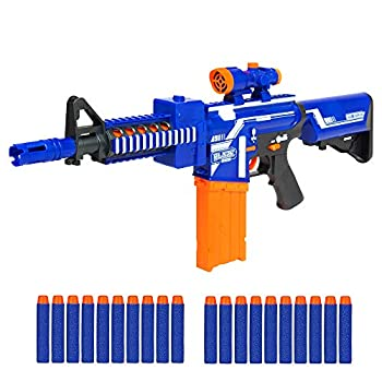 Best Choice Products Kids Motorized Foam Dart Blaster Toy Combat Battle Set w/ Electric Motor High-Capacity Drum 20 Soft Darts Long Distance Shooting - Multicolor