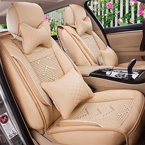 5 sièges voiture imperméable à l'eau et polyester fibre patchwork siège de voiture couvertures protecteur réglable amovible siège auto coussins FULL SET coupe universelle,Beige
