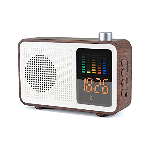 MIABOO Retro Altavoces Bluetooth Portátil,Radio Reloj Despertador, Am/FM, Inalámbrico Rango de 10 Metros, Soporte TF Card/AUX-IN y Carga USB (Nuez)