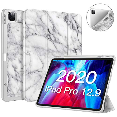 "CaseBot SlimShell Case for iPad Pro 12.9"" 4th & 3rd Generation 2020/2018 with Pencil Holder - Smart Stand Soft TPU Back Cover, Support Pencil 2nd Gen Charging & Auto Wake/Sleep (Marble)"