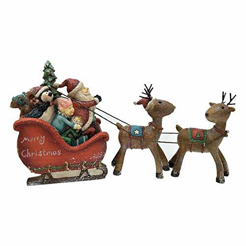 Comfy Hour 5' Festive Christmas Santa Sitting in Sled Drawed by Deer, Set of 3, Red Sled Brown Deers