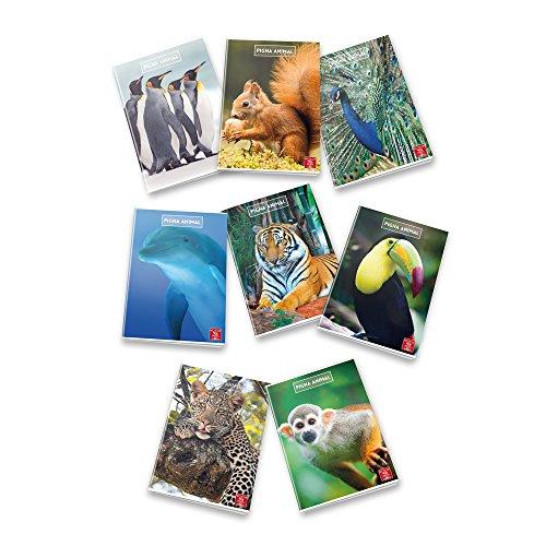 Pigna Animal 02243690C, Quaderno formato A4, Rigatura 0C, righe per 4° e 5° elementare, Carta 80g/mq, Pacco da 10 Pezzi