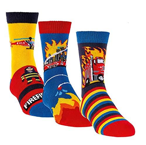 TippTexx 24 6 Paar Ökotex Kinder Stoppersocken, ABS Socken für Mädchen und Jungen, Strümpfe mit Noppensohle, viele schöne Muster (Feuerwehr, 27-30)