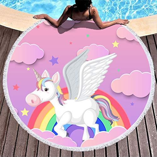 RNGIAN - Toallas de Playa Circulares con diseño de Unicornio para baño, Multiusos, tapete de Yoga con borlas, poliéster, Blanco, 59 Inch