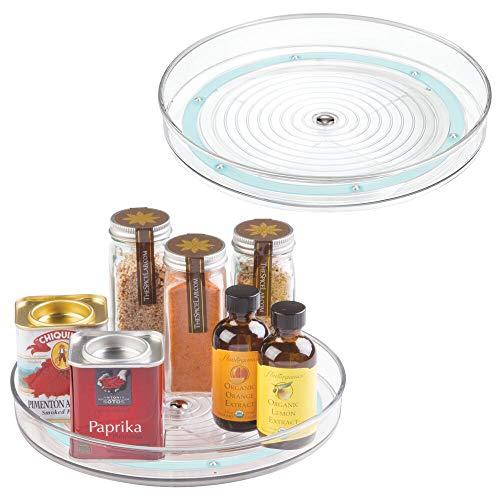 mDesign Lazy Susan draaitafel voedsel opslag container voor kasten, panterie, Koelkast, werkbladen, BPA-vrij - Spinning Organizer voor specerijen, producten, bakbenodigdheden - 9
