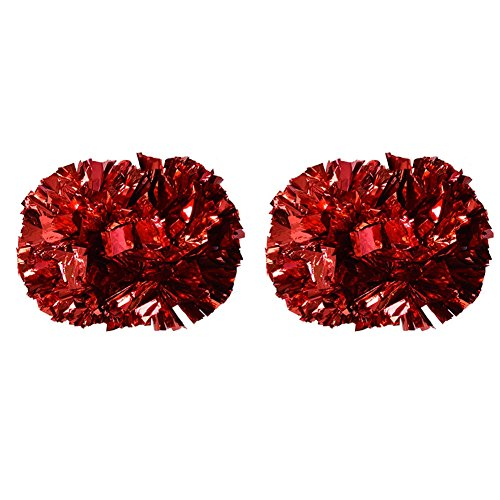 Tbest Cheerleader Pom Poms Cheerleading, 1 Paar Cheerleader Pom Poms Aerobic Cheerleading Pompons Metallic für Tanzparty Schule Sport Wettbewerb(Rot)