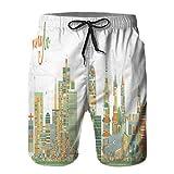Pantaloncini da Surf da Uomo,edifici di Colore dell'orizzonte della Città di Ningbo Cina,Costume da Bagno con Fodera in Rete ad Asciugatura Rapida 2XL