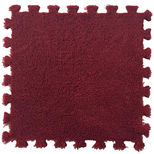 SimidunEUR Teppich Interlocking Schaum Plüsch Boden Puzzle-Matten mit Kanten - Perfekt für Bodenschutz, Garage, Bewegung, Yoga, Spielzimmer. Eva-Schaum,Dunkelrot,2 Pics (30 * 30) cm