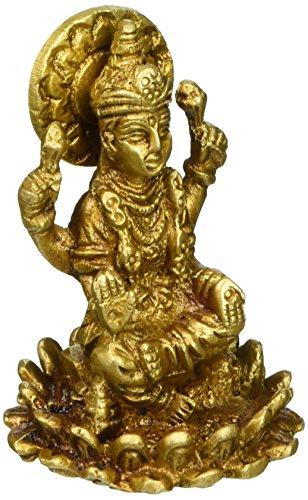 Shalinindia Hindu Göttin Lakshmi Räucherstäbchen Pooja für Reichtum Skulptur Metall Messing