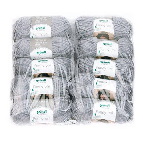 Gründl Funny Uni Wolle, 100% Polyester, hellgrau, 47,5 x 40 x 10 cm