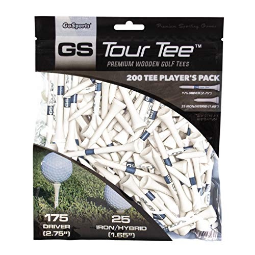 GoSports Tour Tee Premium Wooden Golf Tees | 200 Tee Player's Pack Driver and Iron/Hybrid Tees | Choose Your Tee Color, White