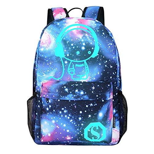 HCFKJ👜 Tasche, Unisex-Cartoon-adriger Rucksack Sternenhimmel Licht Print Nachtleuchtende Schultaschen (MUL)