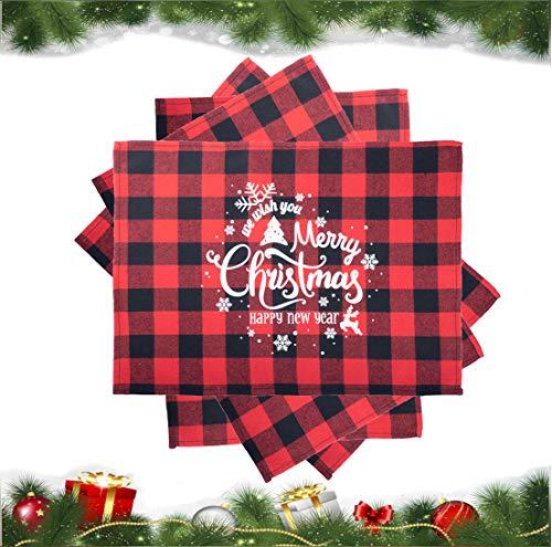 SANMADROLA Christmas Placemats 4Pcs Buffalo Plaid Placemats 13 x 18 Inch Buffalo Check Placemats for Holiday Christmas Table Decorations (Christmas02)