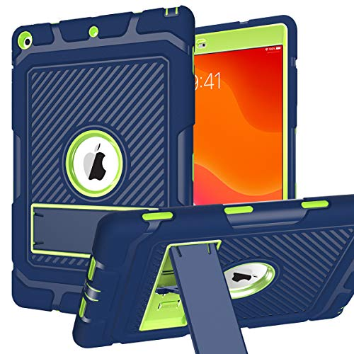 ZHK iPad 8th/7th Generation Case, iPad 10.2 2020/2019 Case, Rugged Heavy Duty Shockproof Case High Impact Resistant Hybrid 3 Layer Full-Body Protective Case Built-in Kickstand-Blue Green