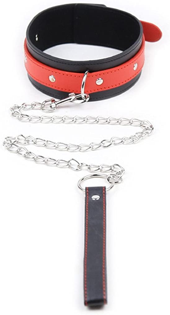 chenyesun PU Leather Choker Collar Neck Collar Adjustable Necklace with Durable Detachable Long Chain Leash for Women Ladies