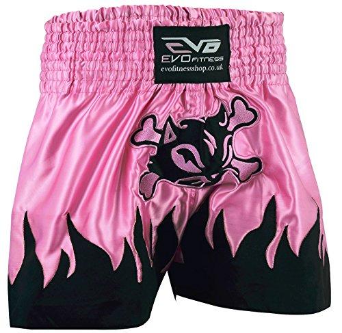 EVO Fitness Damen Muay-Thai Shorts Mädchen MMA Kickboxen Kampfsport Damen Kampf-Ausrüstung - Rosa, X-Small