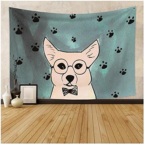 Tapiz de dibujos animados colorido gato tapiz animal colgante de pared decoración de habitación infantil alfombra de pared tienda de campaña colchón de viaje con luz de estrella 150 x 200 cm