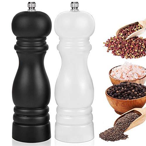 Macina Sale e Pepe,Macina Pepe LegnoRiutilizzabile, Macinapepe Manuale con Grinder Regolabile in Ceramica, Elegante Set di Macinino Pepe- Nero, Bianco (6.5 Inch 2 Pack)