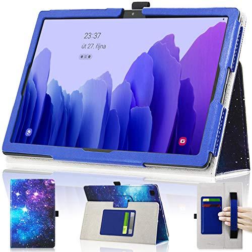 DMLuna Schutzhülle für Samsung Galaxy Tab A7 10.4 Zoll 2020 Modell (SM-T500/T505/T507), Folio-Lederhülle, automatische Weckfunktion, mit Handschlaufe/Kartenhalter, Blau
