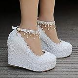 Aupast Zapatos De Boda para Mujer De Satén De Encaje De Tacón Medio Zapatos De Fiesta De Graduación De Boda Sandalias de tacón Peep Toe satén Zapatos de Boda/Noche Zapatos Nupciales 42 EU