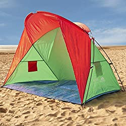 Beach tent shelter. Fibre glass poles. Includes guy ropes and tent pegs. Water resistant floor sheet.