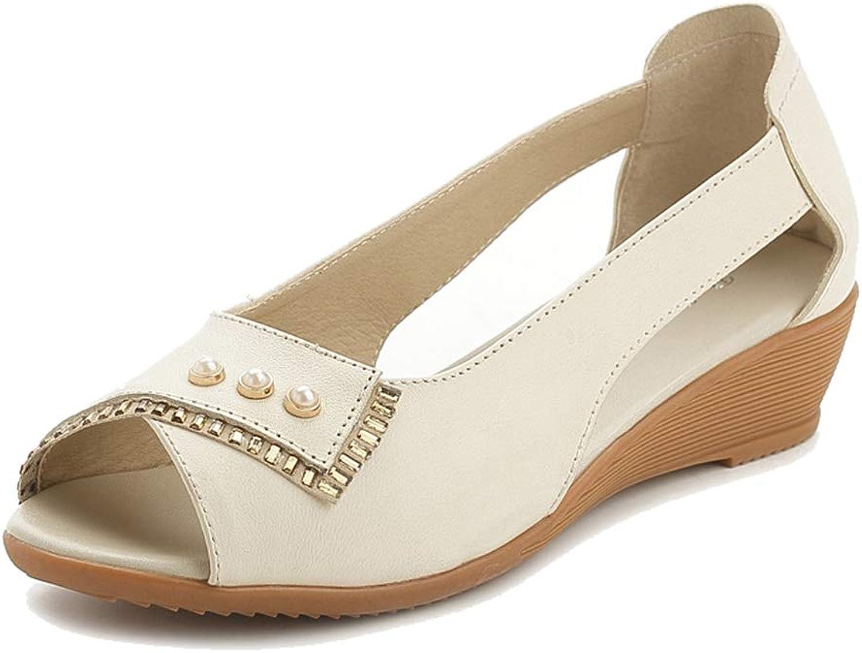 Pingyangxianyanludianzisha Women's Fish Mouth shoes Wedge Summer Leather Rhinestone Flat Sandals