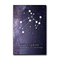 カラフルな12の星座ポスター射手座壁アートパネル星座幾何学的なキャンバス絵画インテリア北欧の写真キッズルームの装飾40x60cmx1フレームなし