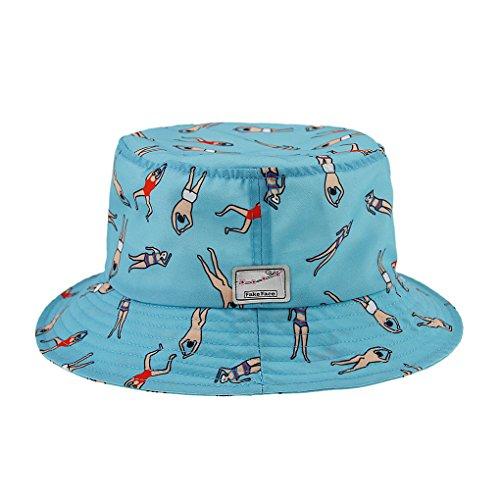 FakeFace Damen Mädchen Niedlicher Sonnenhut Fischerhut Sonnenschutz Strandhut Anti-UV Hüte Hut Kappe mit Cartoon Abdruck aus Baumwolle Blau