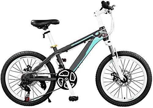 RDJM Bici electrica Niños de Bicicletas de montaña Rígidas for Niños, Bicicleta de montaña niños Durante 5-9 Edades Hombres Mujeres 24 -Velocidad Tren de transmisión con Ruedas de 20 Pulgadas