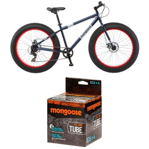 Mongoose Dolomite Fat Tire Bike 26 wheel size 18' frame Mountain Bicycle, Blue