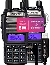 Pack 2Pc Mirkit BAOFENG Radio UV-82 MK5 8 Watt MP Max Power UHV VHF Dual Band Two Way Radio with Programming Cable PL2303