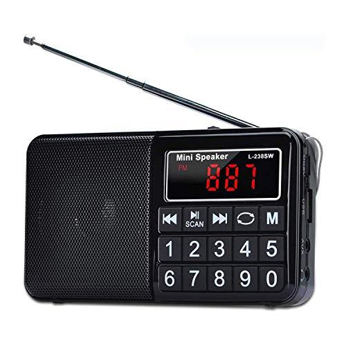 TIANYOU Radio de Onda Corta, Am Fm Radio Sintonizador Digital, Grabación de Soporte de Radio Recargable, Radio Mp3 Portátil con Bass Y Tf Socket, Azul Calidad de sonido sin pérdida