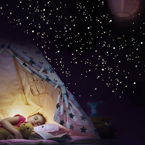 Wandkings - Set di 250 adesivi da parete, a forma di puntini luminosi, fluorescenti e fosforescenti nell'oscurità, per un cielo stellato
