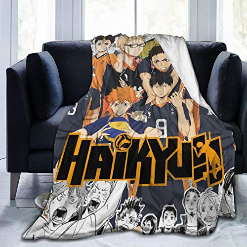 COZYLIFT Thermal Fleece Throws Blanket, Haikyuu!! Keep Warm Alternative Blanket, Washable Rustic Wool Plush Throws for Sofabeds Travel Cats 80x60 Inch