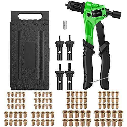 "AUTOUTLET Nietmutternzange Set, Profi Hand Nietzange mit M3 M4 M5 M6 Dorne und 100pcs Nieten, 8\"" Mini Nietmutternpistole Nietmaschine mit Werkzeugbox, Hand Riveter Rivet Gun Riveting Tools-grün"