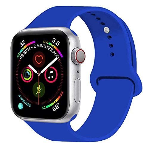 Sunkeyou Classic Sport Band Compatible with Watch Band 38mm 42mm 40mm 44mm Series 5/4/3/2/1, Durable Soft Silicone Replacement Straps Bracelet Wristband for iWatch (Royal Blue, 38/40MM S/M)
