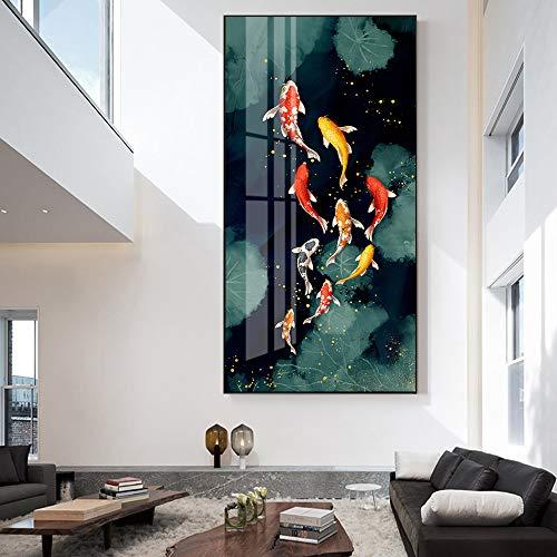 Cuadro de lienzo de aceite de peces de colores en la pared pósters e impresiones de cuadros de pared Cuadro de lienzo de aceite de pescado decoración del hogar animal Pintura sin marco30x60cm