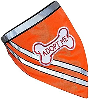 Adopt ME Bandana, Bright Reflective with Embroidered Dog Bone Patch